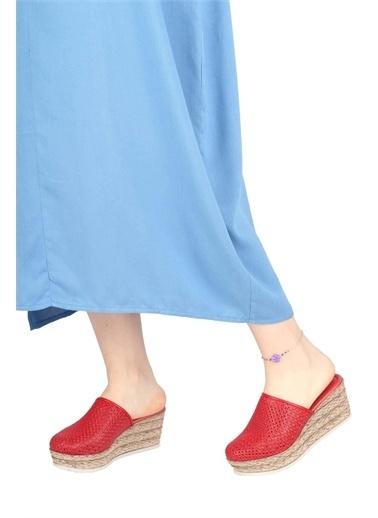 Modabuymus Modabuymus Hakiki Deri  Delikli Dolgu Topuklu Terlik - AlpDer Kırmızı